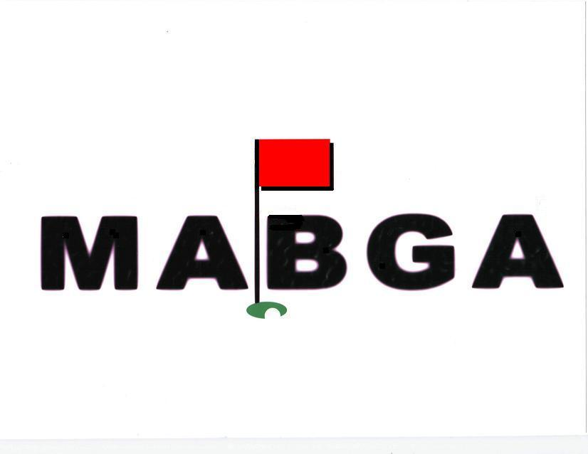Image of golf hole and flagstick imbedded between the letters M A B G A.